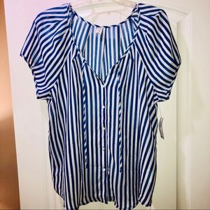 Old Navy Blue and White Striped Sheer Blouse